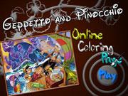 Джеппетто і Піноккіо розмальовка