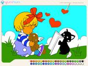 Розмальовка дівчинка на галявині