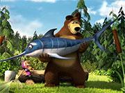Маша і ведмідь на риболовлі