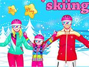 Сім'я катається на лижах